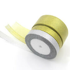 25 Yards New  Roll Gold/Silver Sheer Organza Ribbon Party Wedding Favor 6-40mm