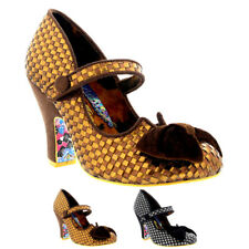 Ladies Irregular Choice Fancy This Bow Checked Court Shoes High Heels All Sizes