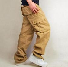 Mens Pockets Cotton Military Overall Cargo Long Work Outdoor loose Straight Pant