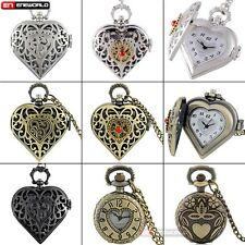 Vintage Heart Love shape Quartz Pocket Watch Pendant Necklace Chain Retro Gift