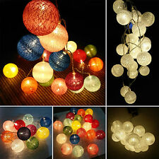 Christmas Cotton Ball Fairy String Lights Battery Operated Lamp Xmas Party Decor