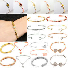 Fashion Charm Women Rose Crystal Gold Plated Cuff Bracelet Bangle Jewelry Gift A