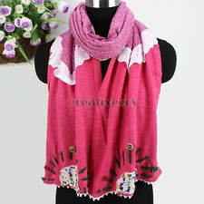 New Fashion Buttons Stitching Pom-Pom Chunk Fabric Art Flower 2-Layer Long Scarf