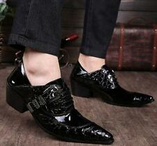 fashion mens pointed cuban heel pointed toe leather buckle dress formal shoes