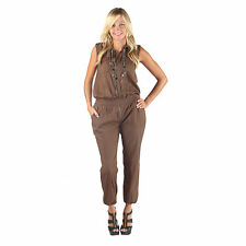 Hadari Womens Brown Wing Collar Sleeveless Harem Ankle Pant Jumpsuit With Front