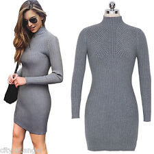 Womens Bodycon Turtleneck Long Sleeve Sweater Party Cocktail Pencil Mini Dress