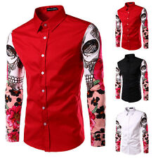 Luxury Mens Casual Slim Fit T-Shirt Buttons Down Formal Stylish Dress Shirt Tops