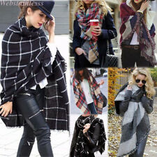 Women Blanket Oversized Tartan Scarf Wrap Shawl Plaid Cozy Checked Pashmina Gift
