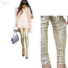 US Rockabilly Womens Sequins Leggings Pants METALLIC Stretch Long Trousers Party