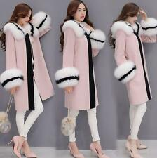 Women's Winter Warm Fur Collar Cuff Coat Wool Blend loose long trench Outwear
