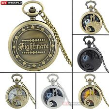 The Nightmare Before Xmas Gift Quartz Pocket Watch Women mens Necklace Chain UK