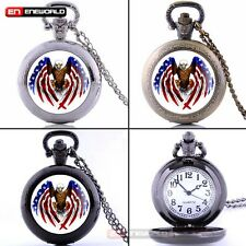 eagle With American Flag Antique Pocket Watch Chain Pendant Quartz Necklace Gift