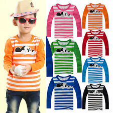 Toddler Kids Mickey Mouse Long Sleeve T-shirt Tops Boys Girls Striped Sweatshirt
