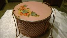 Vintage PRINCESS PINK Round Floral Wicker SEWING BASKET Shabby Chic