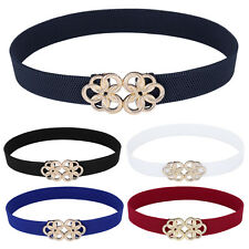 Fashion Women Metal Floral Stretch Interlock Buckle Belt Elastic Thin Waistband