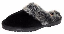NEW SPORTO BLACK SUEDE LUXE SLIPPERS WITH FAUX FUR TRIM