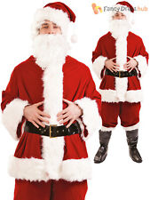 Mens Deluxe Santa Costume Adults Father Christmas Fancy Dress Xmas Suit Outfit