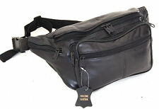 Fanny Pack Leather Waist Travel Bag Adjustable Organizer Belt Black Or Brown New