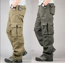 Mens Casual Cotton overalls Loose Straight Cargo Pants Military Trousers Pockets