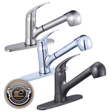Single Handle Kitchen Sink Faucet with Swivel Spout Pull Out Spray + Deck Plate
