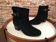Franco Sarto Monument Black Suede Slip On Buckle Ankle Boots 7.5 NEW