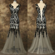 Long Formal Wedding Evening Party Cocktail Lace Dress Bridesmaid Prom Ball Gowns