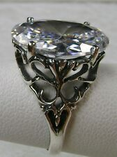 8ct Oval White Gem Solid Sterling Silver 925 Vintage Filigree Ring Size Any/MTO