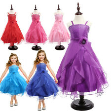 Strapless Sequin Bodice Ruffle Dress Ball Gown Party Flower Girl Kids Lace Dress