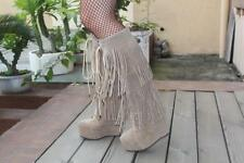 Vintage Womens tassel high Wedge Heel Platform Knee High Boots winter lace Shoes