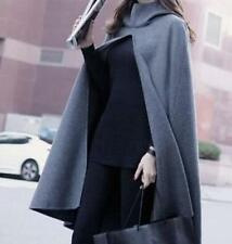 Chic Womens Loose Cloak Cape Wool Blend Hooded Poncho Outerwear Vintage Coats YT