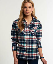 New Womens Superdry Milled Flannel Shirt Ocean Blue Check