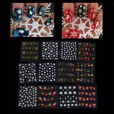 Christmas Snowflake Tree Nail Art Sticker 12 Sheet Decal Tips Decoration Glitter