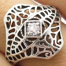 Avon Vintage Sterling Silver Heavy Scroll-work Ring w/diamond crystal Ring
