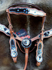 Horse Show Tack Bridle Western Leather Headstall Breast Collar Blue Bling 8411
