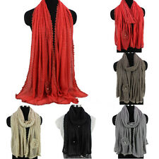 Women's Fashion Long Scarf 3D Flower Pearl Mesh Grid Solid Color Shawl Wrap New
