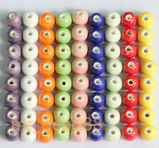 10/20Pcs Round Ceramic Porcelain Pattern Beads Loose Spacer Bead 8mm 9 Colors
