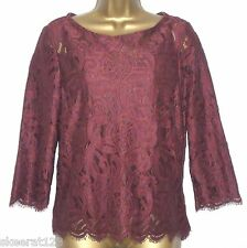 New Per Una Wine Red Lace Long Sleeved Party Top with Cami Size  10 12 14 16 18