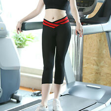 Lady Yoga Capri Running Sports Gym Pants 3/4 Trouser High Waist Cropped Leggings