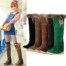 Women's Winter Snow Boots Faux Furry Tassels Tall High Comfort Boots Shoes New Y