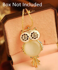 New Lady Womens Vintage Retro Alloy Opal Owl Pendant Sweater Long Chain Necklace