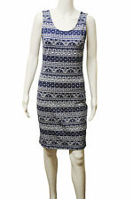 Womens New Look BodyCon Vest Dress Aztec Floral Print Navy Size 12 to 14 Ladies