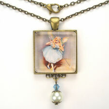 "FAIRY GODMOTHER MAGIC WAND WISH ""VINTAGE CHARM"" BRONZE OR SILVER ART NECKLACE"