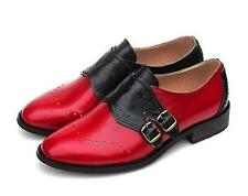 School Girl Color Vintage Leather Monk Strap buckle Loafers oxford Womens Shoes