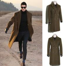 Mens Thick Woolen Trench Coat Slim Fit Double-breasted Long Jacket Overcoat New