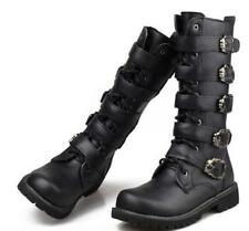 Mens Knee High Boots Combat Biker Riding gothic  Militerry Buckle Shoes US Size