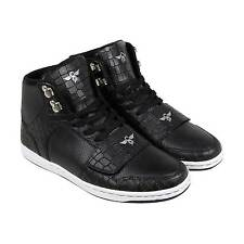 Creative Recreation Cesario Mens Black Leather High Top Lace Up Sneakers Shoes