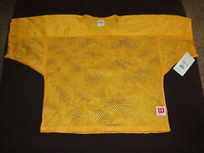 NEW YOUTH Wilson Porthole Mesh Practice Football Jersey YELLOW GOLD F8630