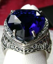 10ct *Sapphire* Heart Sterling Silver Deco Filigree Ring Size {Made to Order}