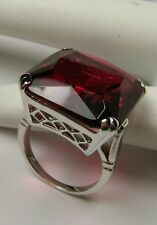 20ct Big Huge *Red Ruby* Solid Sterling Silver Filigree Ring (MTO/New) Size Any