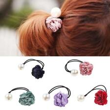 Girls Rose Flower Pearls Hairband Ponytail Holder Hair Bands